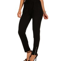 Black Quilted Jogging Pants