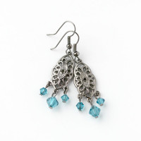 Gunmetal and Teal Green Swarovski Beaded Chandelier Earrings - Romantic Jewelry - Ready to Ship