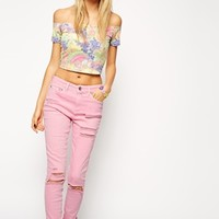 ASOS Ridley High Waist Ultra Skinny Ankle Grazer Jeans in Pink with Thigh Rips and Busted Knees
