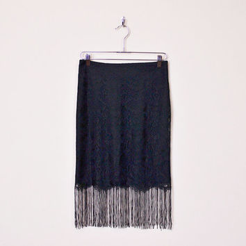 Black Lace Skirt Scallop Lace Sheer Lace Fringe Skirt Midi Skirt Black Skirt 90s Skirt 90s Grunge Skirt Gypsy Skirt 20s Flapper Skirt S