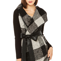 Wool Blend Plaid Wrap Ribbed Sleeve Cardigan
