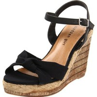 Madden Girl Women`s Endanger Wedge Sandal,Black Fabric,6.5 M US