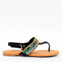 Lana Beaded Sandals in Black :: tobi