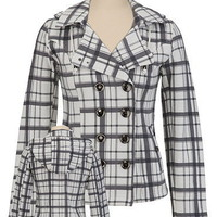 Hooded Plaid Trench Coat