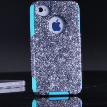OtterBox Commuter Series Case for iPhone 4 4S - Custom Glitter Case for iPhone 4 4S - Smoke/Teal