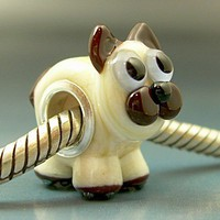 SIAMESE KITTEN Pandora Trollbeads Handmade Lampwork European Charm Big Hole Bead SRA Gelly Kitty Cat