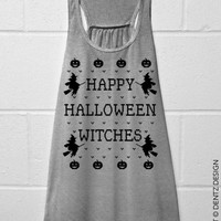 Happy Halloween Witches - Flowy Tank Top - Gray