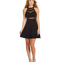 Honey and Rosie Sleeveless Illusion Skater Dress - Black