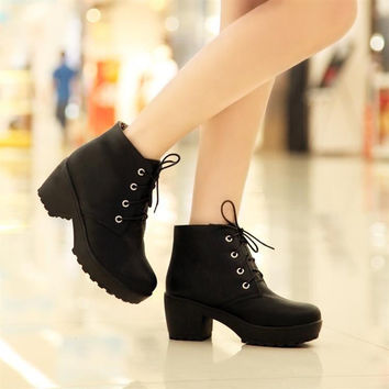 Women's Round Toe Lace Up Chunky Platform Block Heels Oxford Shoes Ankle Boots #