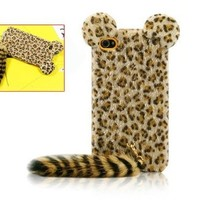 Cute 3D Plush Tail Leopard TPU Case Cover Skin for iPhone 4 4S Yellow:Amazon:Cell Phones & Accessories