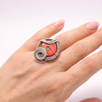 handmade coral ring-energy-reiki-  wire jewelry-handmade wire wrapped jewelry-Adjustable ring-silver ring
