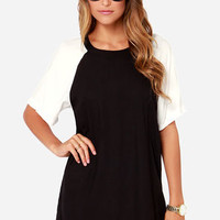 Obey Cara Black and Ivory Shift Dress