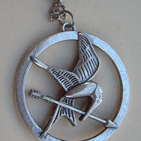 SALE--The Hunger Games pendant ,Inspired Mockingjay Necklace-Bronze--double sides-antique silver