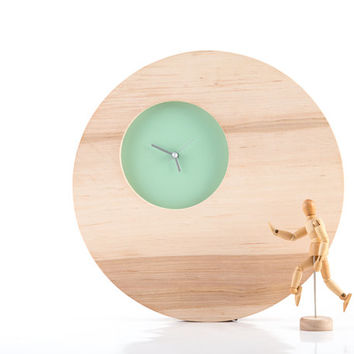 Wall Clock Double Circle Mint edition natural solid wood with a small face to appreciate beauty of wood (time is irrelevant)