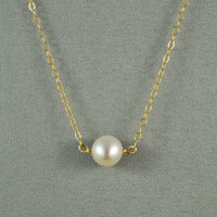 Beautiful White Freshwater Pearl Necklace,14K Gold Filled Chain, Simple, Gorgeous, Wonderful Jewelry