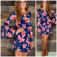 Moon Lily Red Dark Floral Bell Dress