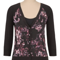 Floral print chiffon front cardigan