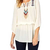 Boho Embroidered Yoke Tunic Top