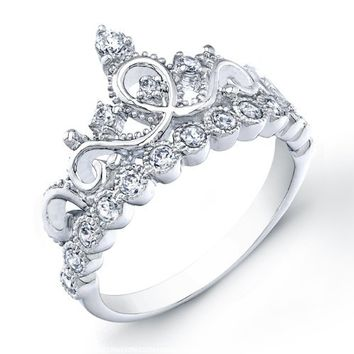 925 Sterling Silver Princess Crown Ring:Amazon:Jewelry