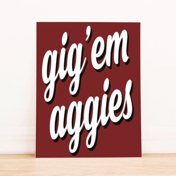 Texas A&M Aggies Art PrintableTypography Poster Dorm Decor Apartment Art Home Decor Office Poster