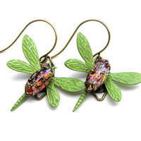 Antique Dragonfly Earrings with Vintage Stones