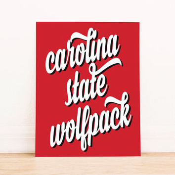 North Carolina State Wolfpack Art PrintableTypography Poster Dorm Decor Apartment Art Home Decor Office Poster