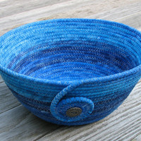 Blue Ombre, Coiled Fabric Basket, Bowl
