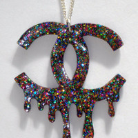 Multi-colored glitter Designer Massacre necklace