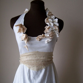 Bohemian Wedding Gown Custom Short Cream Halter Wedding Dress Prom - Made to Order