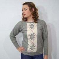 70s Cashmere Sweater Pringle Snowflake Large L Medium M Vintage 1970s Gray