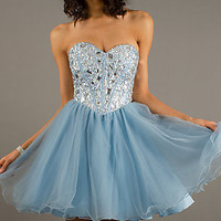 Short Strapless Lace Up Party Dress