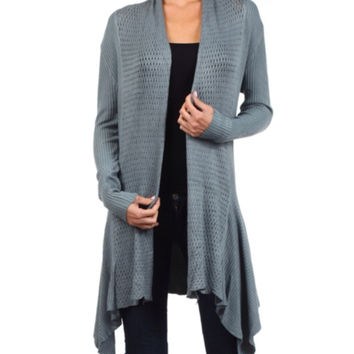 In Style Crochet Knit Long Grey Cardigan
