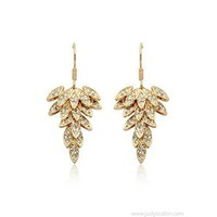 Goldtone Diamond Leaf Drop Earrings - Earrings