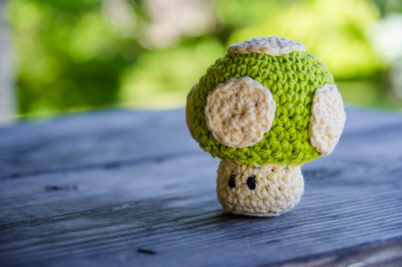 Super Mario Bros Amigurumi 1up Mushroom Made To Order