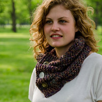 Knit Cowl Pleated with Buttons Made To Order
