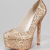 Alice and Olivia Larimore Laser Cutout Pump