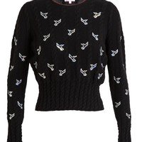 OLYMPIA LE-TAN | Cable-Knit Jumper with Sequin Birds | Browns fashion & designer clothes & clothing