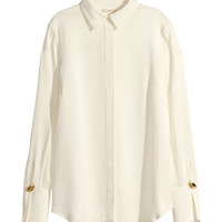 H&M - Woven Blouse - Natural white - Ladies