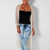 Moonshine Cream Lace Maxi Knit Cardigan | Pink Boutique