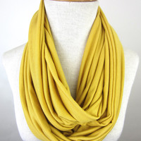Light Mustard Infinity Scarf - Gold Jersey Scarf - Misted Yellow Circle Scarf