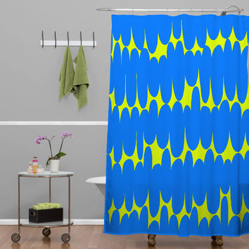 Sarah Bagshaw Lime And Blue Shower Curtain