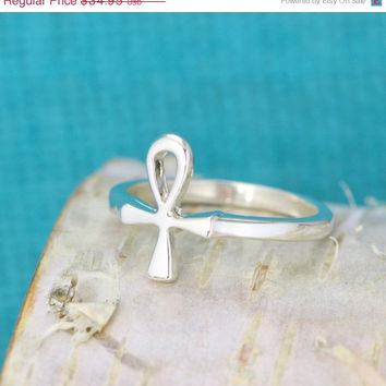Labor Day Sale Egyptian Cross - Cross Ring - Ankh Cross - Eternal Cross - Key Of Life Ring - Crux Ansata - Ankh Symbol - Anhk Jewelry