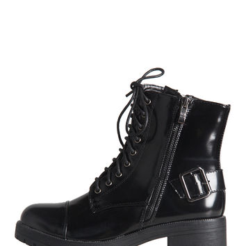 PATENT BUCKLED COMBAT BOOTS - BLACK