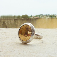 Gold and silver dome ring