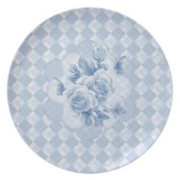 Diamonds Roses Butterfly Plate