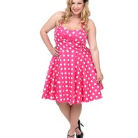Plus Size Pink & White Polka Dot Halter Fit N Flare Dress | Unique Vintage