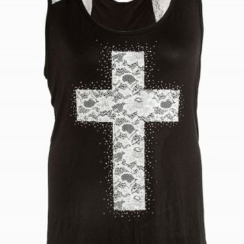 CROSS LACE GRAPHIC TANK