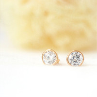 Tiny Clear Crystal Bezel Earrings
