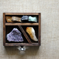 Wood Drawer - Miniature Curio Stone and Crystal Set