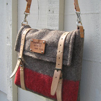 Unique iPad Messenger Bag/ Laptop Bag/ Travel  Bag/ Shoulder Bag. Hand made from Swiss Army Wool blankets.Taupe- red stripe
